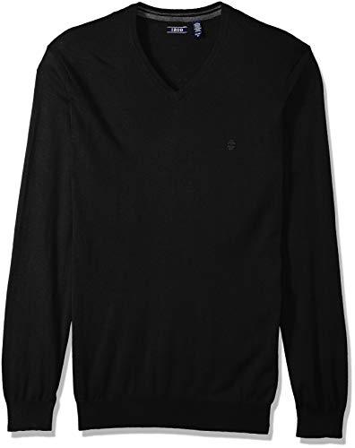 IZOD Men's Big and Tall Premium Essentials Solid V-Neck 12 Gauge Sweater, Black, 3X-Large