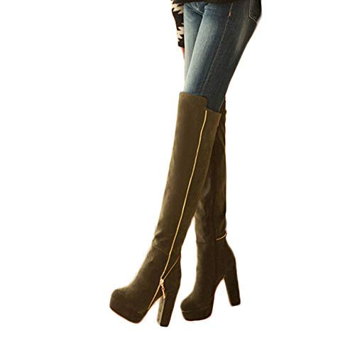 ZHRUI Damen-Overknee-Stiefel Rundkopfstiefel Dicke hochwertige Schuhe Verschleißfeste Rutschfeste Reitschuhe Wellington-Stiefel