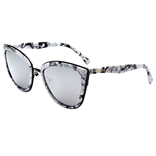 - VIVIENFANG Color Mirrored Oversized Cateye Sunglasses Fashion Polarized Shades For Women P1891I White Marble