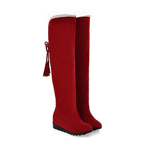 Sólido Botas Puntera Rojo Mujeres AgooLar Caña Tacón Alto Cordones Redonda Alta q17wzpt
