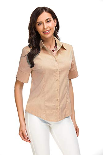 (Womens Short Sleeve Button Down Shirts Simple Fit Collar Shirts Office Formal Casual Blouse)