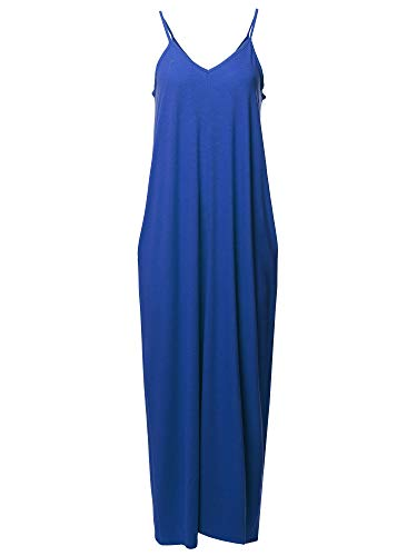 Casual Premium Adjustable Strap Side Pocket Loose Maxi Dress Sapphire 1X