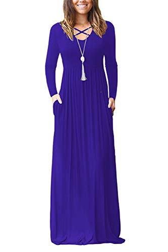 LILBETTER Women's Long Sleeve Maternity Dresses Maxi Dresses Casual Long Dresses Pockets (Royal Blue, S)