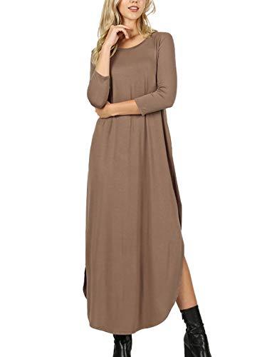MixMatchy Women's 3/4 Sleeve Side Slit Long Maxi Dresses Mocha 2X ()