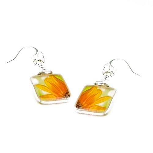Handmade Sunflower Earrings, Petite Glass Drop Dangle Earrings, Jewelry for Women