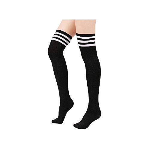 (Spring Fever Women Stripe Tube Over Knee High Socks Thigh Stockings Cosplay Socks B_Black)