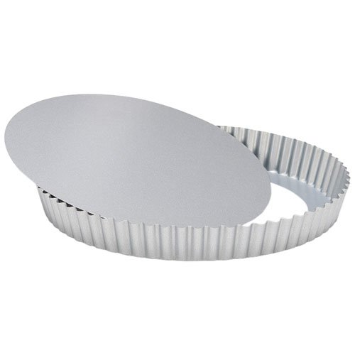 Patisse Silver-Top Flan Tin with Loose Base Nonstick, Silver Grey
