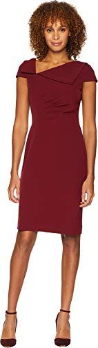 Tahari by ASL Women's Fold-Over Collar Crepe Short Sleeve Crepe Dress Crimson Red 8
