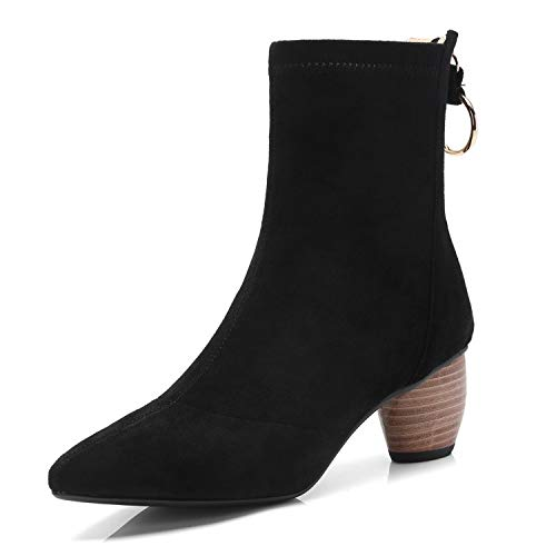 Femme Bout Bottines à Plat Pointu Black pour à Talon nS0nB