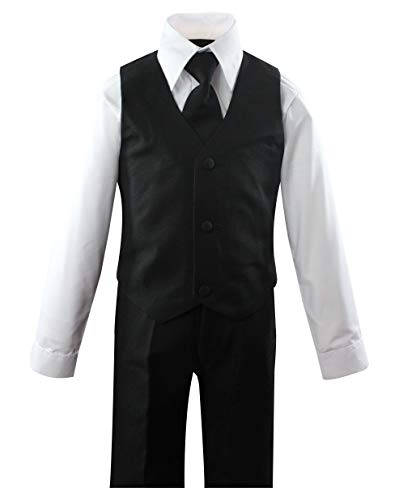 Luca Gabriel Toddler Boys' 5 Piece Classic Fit No Tail Formal Black Dress Suit Set with Tie and Vest - Size 4T by Luca Gabriel (Image #1)