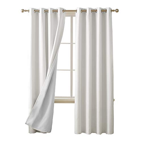 Deconovo 100 Percent Blackout Curtains with 3 Pass Energy Efficient Thermal Insulated Coating Faux Linen Room Darkening Curtains for Living Room 52 x 95 Inch Length Set of 2 Curtain Panels White (Linen Blackout 95)