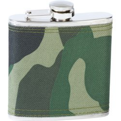 Maxam KTFLKCW6 6 oz Stainless Steel Flask With Camo Wrap, Multicolor