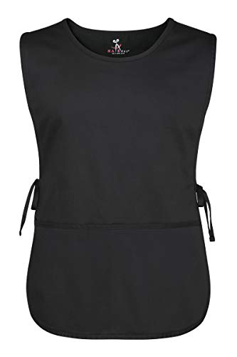 """Black Salon Sleeveless Cobbler Apron – With Pockets and Adjustable Side Ties, 100% Cotton, Full Front and Back Coverage - Unisex Smock For Hair Stylists, Servers and Home – Plus, 31"""""""
