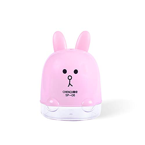il Sharpener, Helical Steel Blade Sharpens, USB Operated Safety Automatic Pencil Cutter, for Office School Artists Adults Kids, Cute Cartoon Rabbit, Pink ()