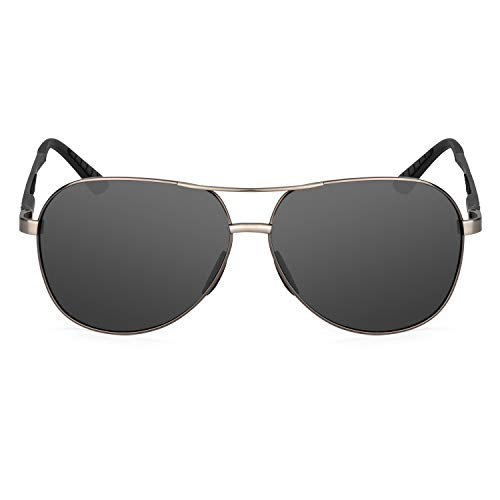 XXL extra large Round Aviator Polarized Sunglasses for big wide heads 150mm (gunmetal, black) (Sunglass Optical And)