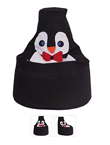 Bayt Orange Animal Themed Kids Storage Bag, Stuffed Animal Toys Bean Bag and Cover That can be Filled with Beans (Penguin)