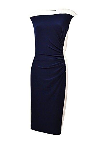 Lauren Ralph Lauren Women's Cap-Sleeves Two-Tone Jersey Dress (2, Light - Dress Two Tone Jersey
