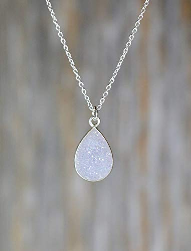 White Druzy Pendant Necklace Sterling Silver Teardrop -18 inch Length