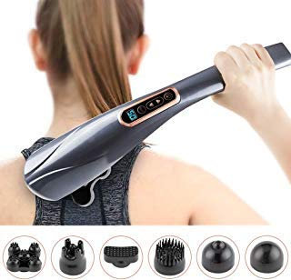 Handheld Massager - 6 Interchangeable Nodes,10 Speeds &12 Modes, Cordless Electric Percussion Back Massager Handheld for Muscles, Neck, Shoulder and Foot Pain Relief, Anti-Slip Design and LCD Screen