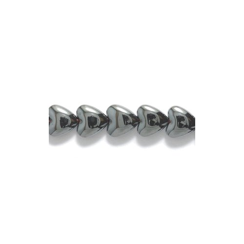 Shipwreck Beads Hematite Puffed Heart Bead, 6-mm 78-Piece Per Strand, 2-Strand/Pack (Heart Beads Puffed)