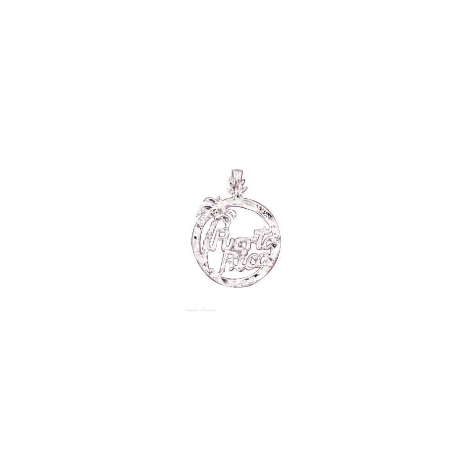 Sterling Silver 18 Box Chain Necklace With PUERTO RICO Round Pendant