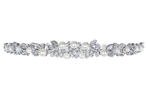 Faux Clear Crystal Pearl - Faux Pearl Floral Flower Crystal Headband Bridal Tiara T1040