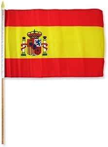 AZ FLAG Bandera de ESPAÑA 45x30cm con Palo de Madera - Lote de 10 Bandera ESPAÑOLA 30 x 45 cm: Amazon.es: Jardín