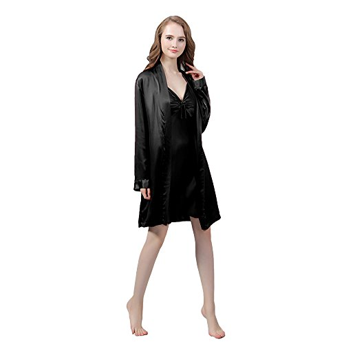 LULUSILK Conjunto de Pijama Mujer Bata Corta con Camisón de Lazo 19 Momme Atractivo Marfil