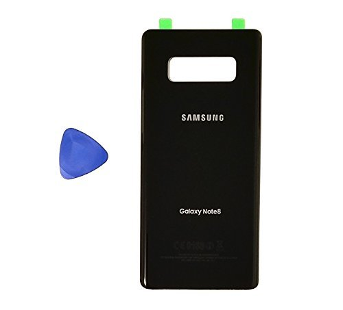 (md0410) Galaxy Note 8 Midnight Black Rear Back Glass Lens Battery Door Housing Cover + Adhesive + Opening Tool Replacement For N950 (Fit all carriers)