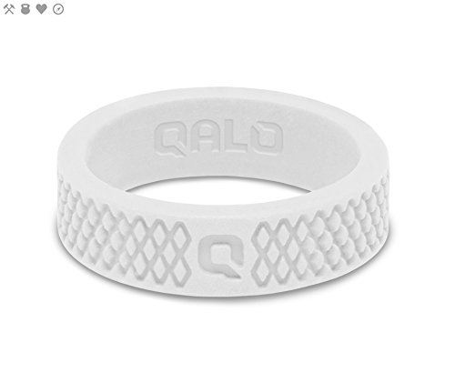 Women's White Crosshatch Q2X Silicone Ring Size 08