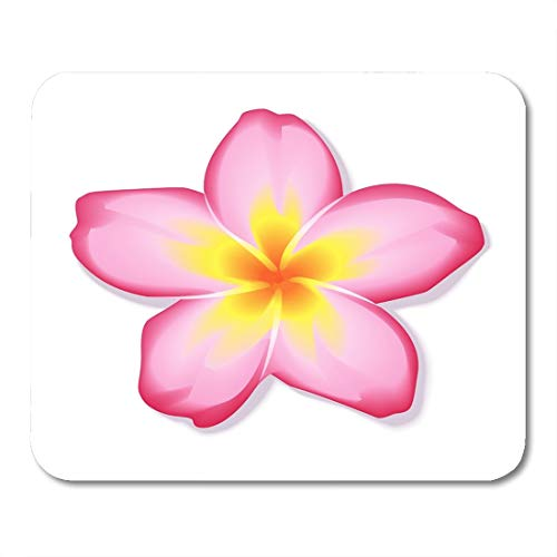 Boszina Mouse Pads Spa White Hawaiian Pink Frangipani Plumeria Flower Yellow Exotic Tropical Mouse Pad 9.5