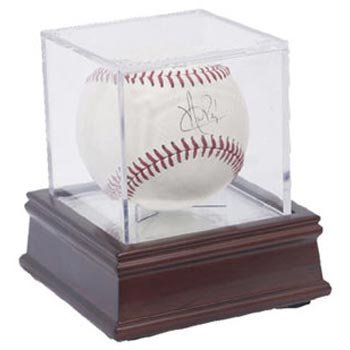 (BallQube Grandstand Baseball Display on a Wood Base )