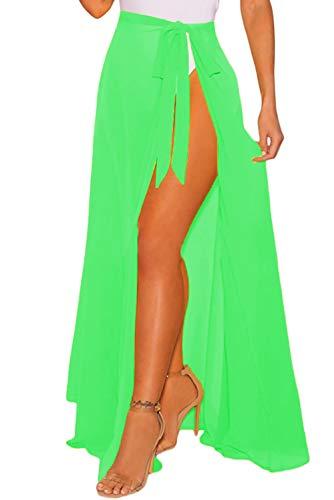 DOSWODE Women's Swimsuit Cover Up Summer Beach Wrap Skirt Swimwear Chiffon Pareo Sarong Bikini Coverups Green (Green Suit Chiffon)