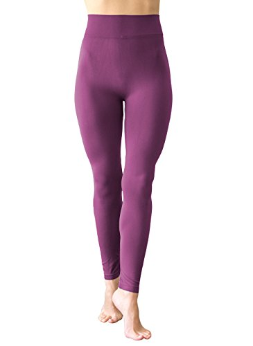BELIZA Light Orchid Purple Fleece Leggings with 3 Inch High Waist (Orchid Band)