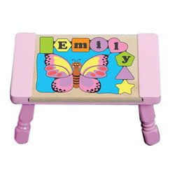 babykidsbargains Personalized Butterfly Puzzle Stool - Color: Pastel Puzzle with Pastel Pink Stool