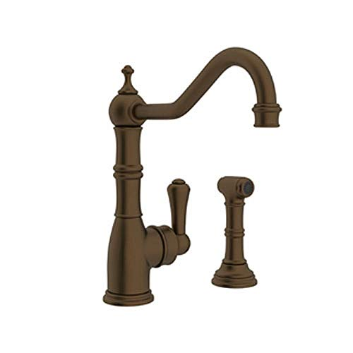 (Rohl U.4746EB-2 Perrin and Rowe Single Hole Single Lever Aquitaine Kitchen Faucet with Sidespray Rinse and 9-Inch Reach Column Spout, English Bronze)