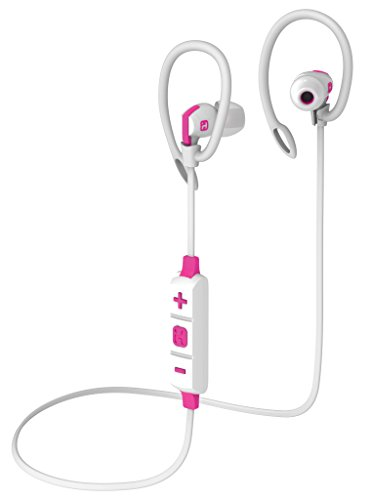 Bluetooth Wireless Water-Resistant Sport Earphones Mic Remote Sport Clips White/Pink () - iHome IB79WPC