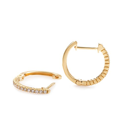 Stunning 0.30 Carats (ctw) Diamond Hoop Earrings in 14K Yellow Gold; 1/3 CT Brilliant White Diamonds (G Color, SI1-SI2 Clarity) in 0.63''
