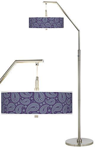 (Purple Paisley Linen Giclee Arc Floor Lamp - Giclee Glow)
