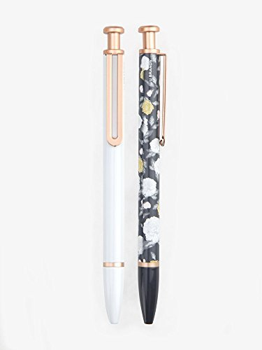 The Monterey Ballpoint Pen, Floral and White, Metal Body - 1 MM - Black Ink - 2 in (Floral Ink)