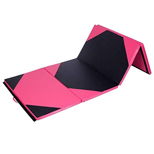 Exercise Mat 4'x10'x2 Gymnastics Folding Panel Thick Gym Fitness Pink & Black with Ebook