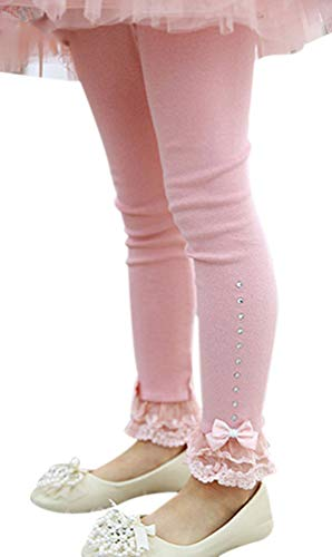 EachEver Kids Girls Cotton Spring Fall Leggings Pants with Bowknot Lace Trim Rhinestone 3-11 Years Pink 6T