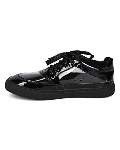Sneaker Low Cost In Pelle Di Alrisco Donna - Sneaker Lucite Punta Tonda - Scarpa Da Passeggio Casual Moda Trendy - Hc46 By Liliana Collection Black Patent