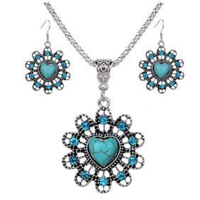 Potelin Premium Quality Women 's Vintage Heart Faux Turquoise Hollow Floral Pendant Necklace Earrings Jewelry ()