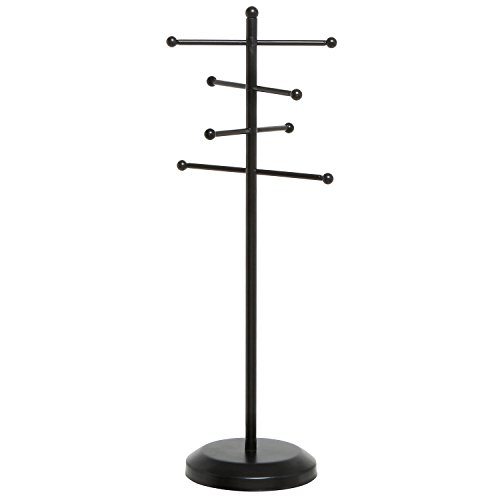 Modern Black Metal Tabletop Jewelry Tree Display Stand