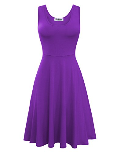 Tom's Ware Womens Casual Fit and Flare Floral Sleeveless Dress TWCWD054-D155-PURPLE-US - Tom Purple