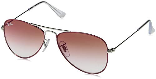 Ray-Ban Junior RJ9506S Aviator Kids Sunglasses, Red on Silver/Red Gradient Mirror, 50 mm