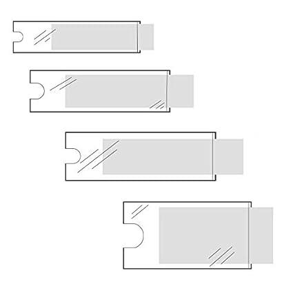 Klebeshop24 BESCHRIFTUNGSFENSTER SELBSTKLEBEND Transparent Schmale Seite offen Selbstklebetaschen f/ür Einsteckschilder Menge w/ählbar Format Mit Daumenausstanzung ~ 35 x 75 mm 120 St/ück