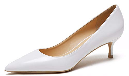 (CAMSSOO Womens Low Heel D'Orsay Slip On Pointed Toe Dress Pumps Shoes White PU Size US8.5 EU41)