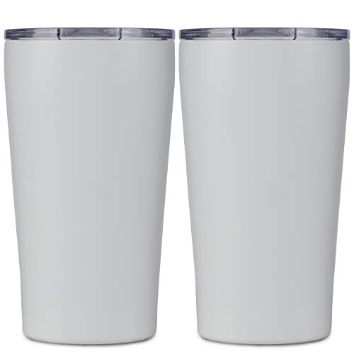 16oz Travel MugTumbler Double Wall Vacuum Insulated Stainless Steel Coffee Cup with Lid,Tumbler Mug cup Works Great for Ice Drink, Hot Beverage (2 pack, White)